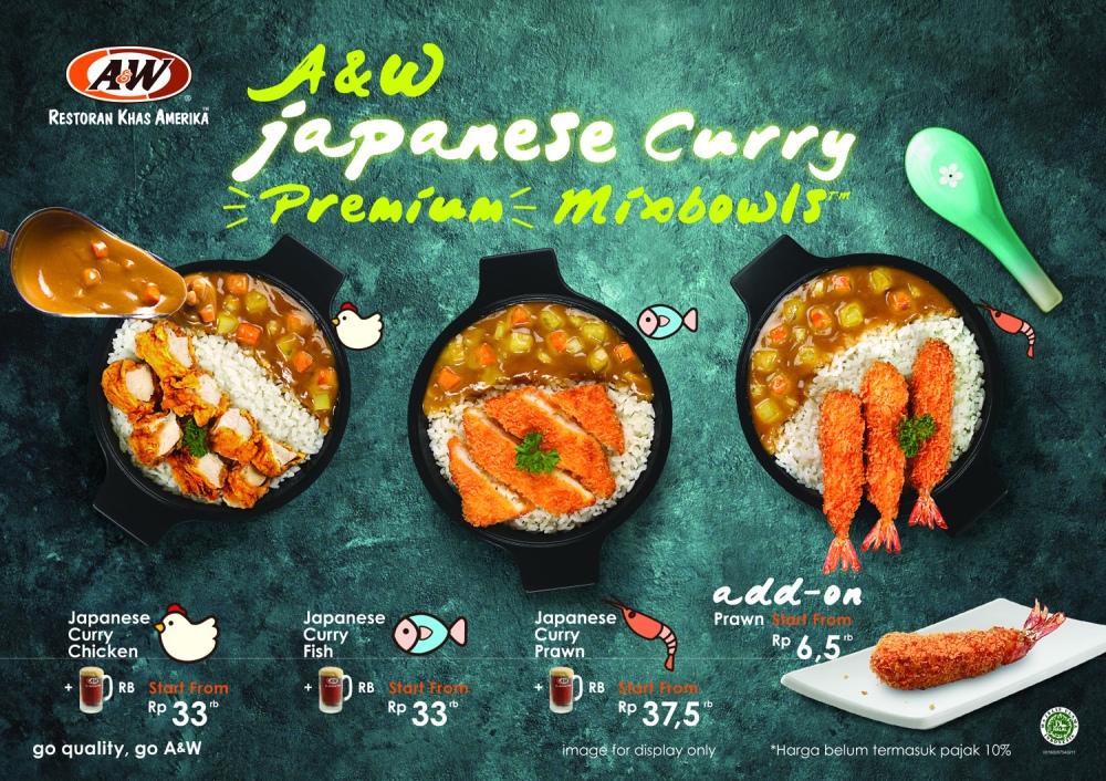 Menu paket Japanese Curry Premium Mixbowls™ sudah termasuk rootbeer.